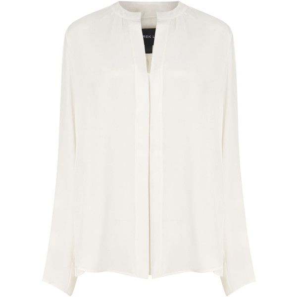 Derek Lam White Silk Nehru Collar Blouse (19.925 RUB) ❤ liked on Polyvore featuring tops, blouses, shirts, long sleeves, white blouse, loose blouse, white long sleeve top, derek lam top and long sleeve blouse
