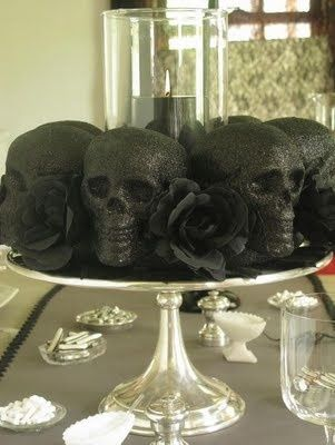 Dollar store skulls with black glitter on a cake platter as a