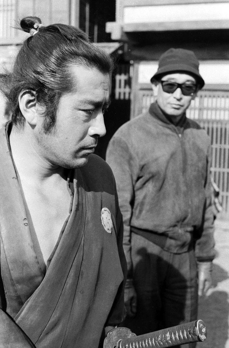 Toshirô Mifune and Akira Kurosawa on the set of Sanjuro (1962).
