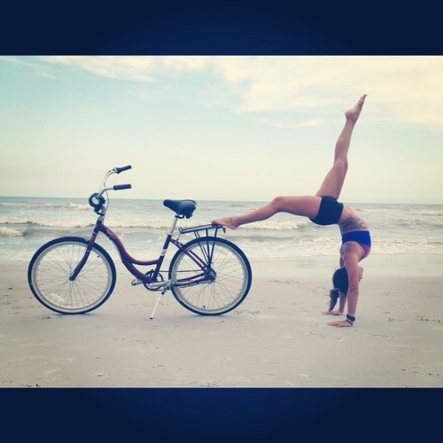 Getting bendy on the beach!