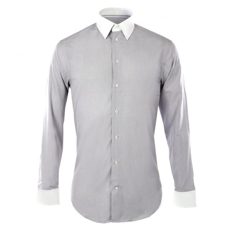 Armani Collezioni Mens Grey Pick On Pick White Collar & Cuff Shirt