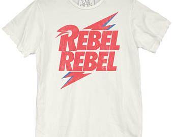 David Bowie Rebel Bolt Unisex Tee (BWE0260-738VWH) rebel rebel, golden years, ziggy stardust, Heroes, Starman, Labyrinth, Let's Dance, Bowie