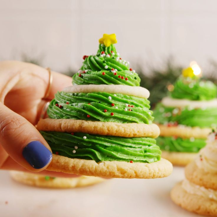 Sugar cookie trees. These would be so much fun except miniature so you could take them in one bite.