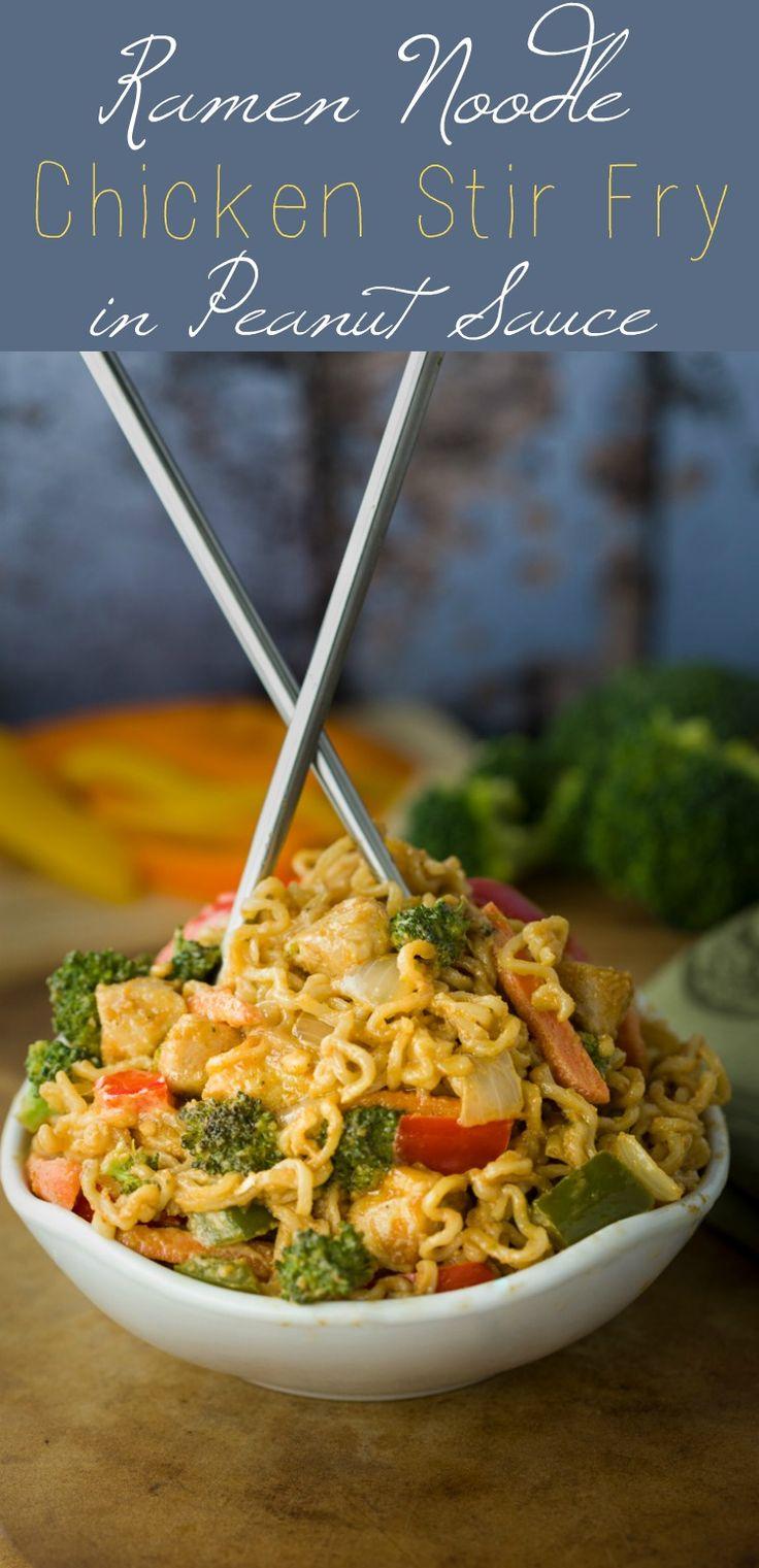 Ramen Noodle Chicken Stir Fry with Peanut Sauce {Quick & Easy}