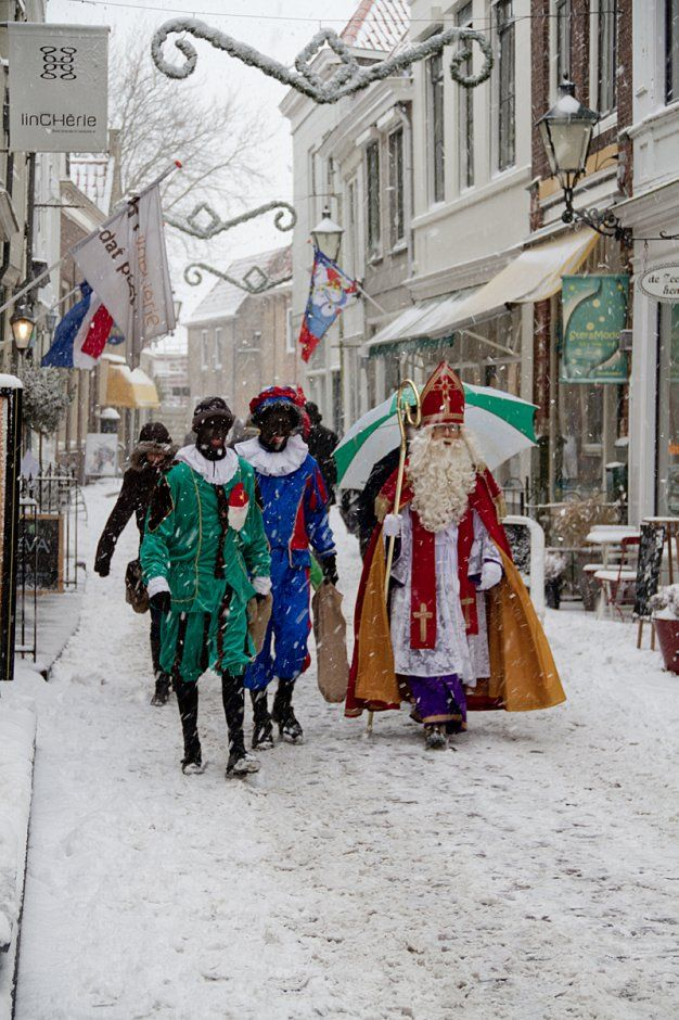 Sinterklaas (or more formally Sint Nicolaas) is a traditional winter holiday figure still celebrated today in the Netherlands on 5th DEC with Zwarte Piet (black Piet0