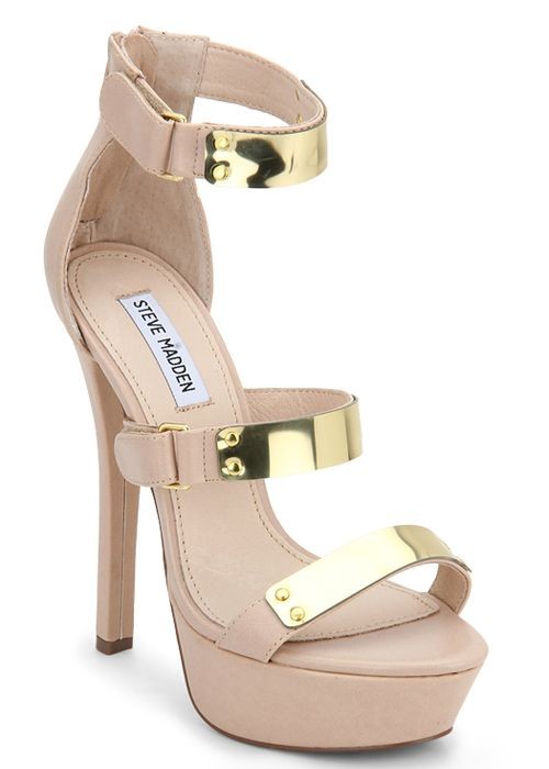 #party #heels #stiletto #nude #gold #leather via @Roposo