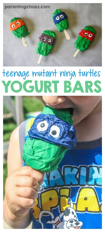 Easy Teenage Mutant Ninja Turtle Frozen Yogurt Bars  #SnackBrighter #ad