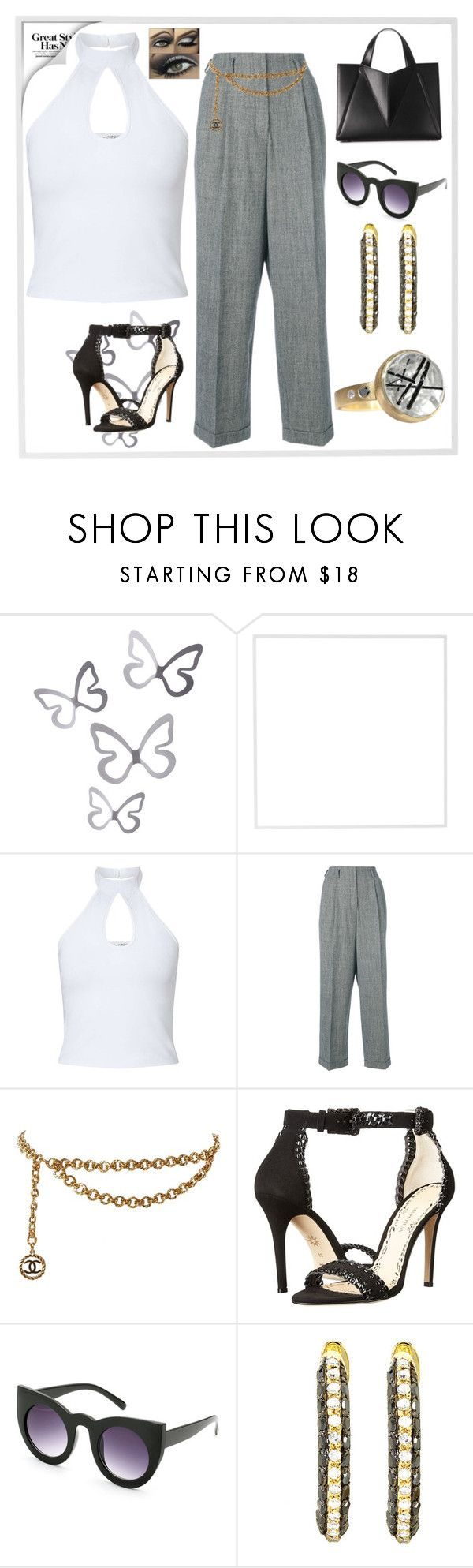 """""""Classy Gray"""" by gigi-sessions on Polyvore featuring Menu, Miss Selfridge, Odeeh, Chanel and Marchesa"""