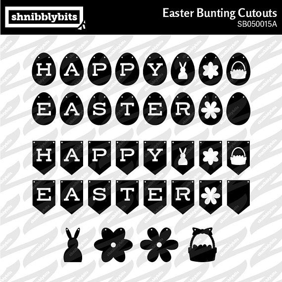 Easter Bunting Banner Cutouts  SVG DXF PNG Digital