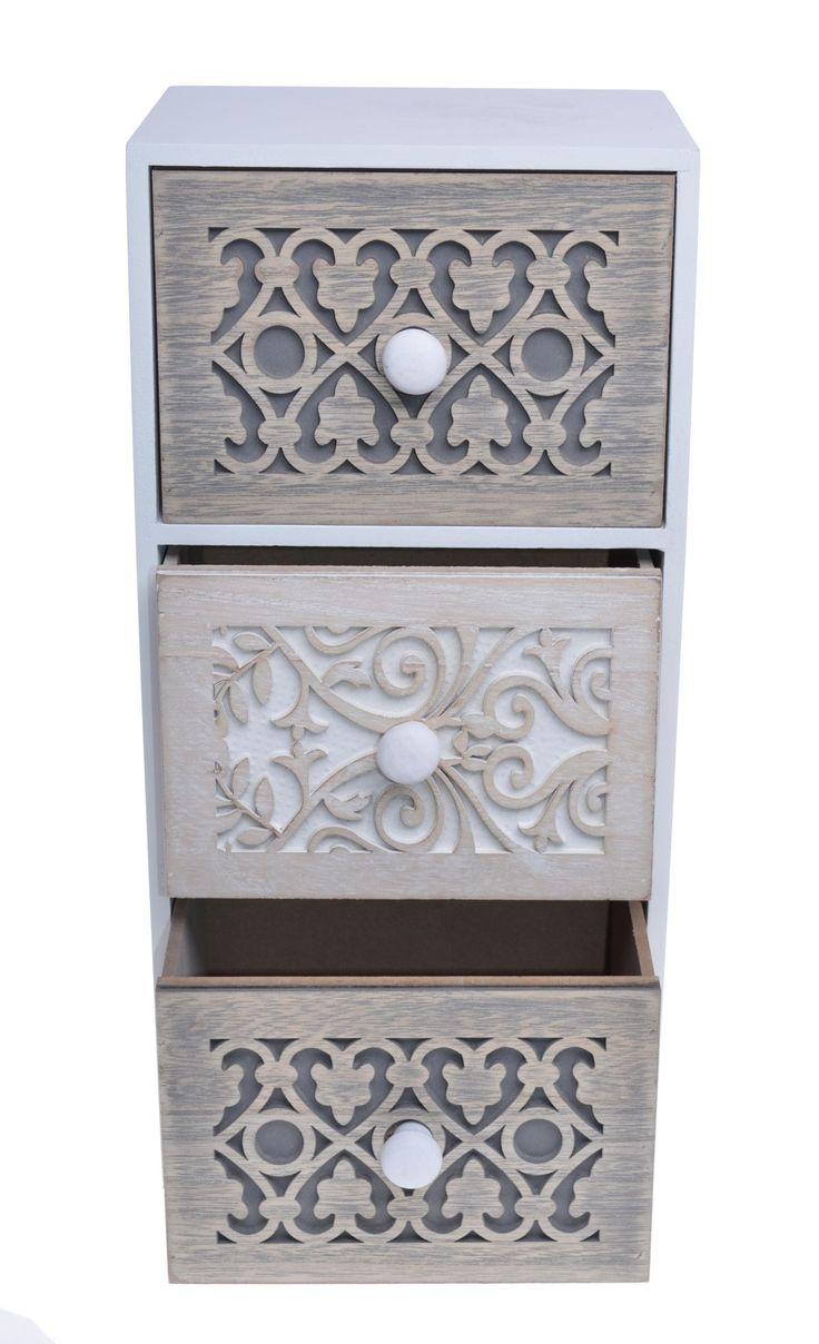 Szafeczka z trzema szufladkami na drobiazgi . Wysuwane małe szufladki pomieszczą biżuterię, gumki i spinki do włosów oraz inne drobne przedmioty. Fronty szufladek rzeźbione. Cała szafka wykonana z mdf /drewna.  Doskonały mały mebel i miejsce do przechowywania w sypialni, garderobie lub łazience.
