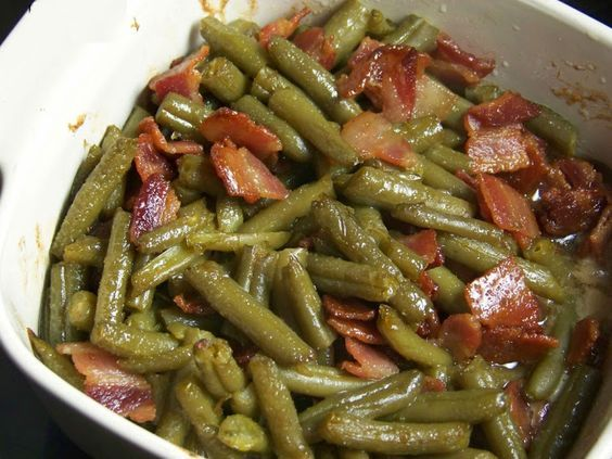 Sweet Southern Green Beans Recipe Side Dishes with green beans, bacon, butter, brown sugar, soy sauce, worcestershire sauce, garlic powder