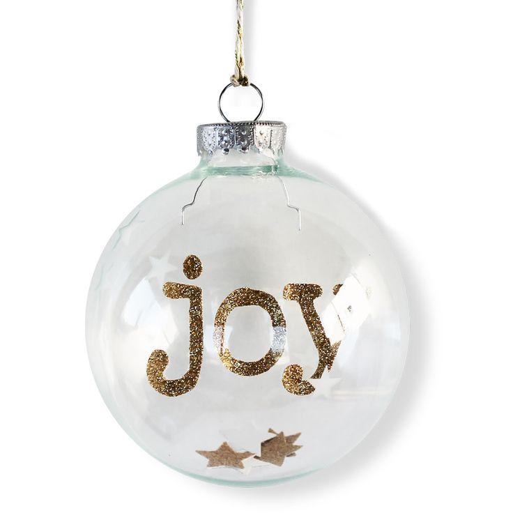 Joy Etched Stars Christmas Ornament