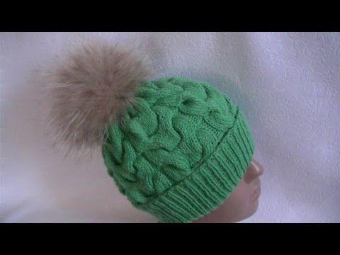 Вязание шапки по кругу узором объемные косы - YouTube