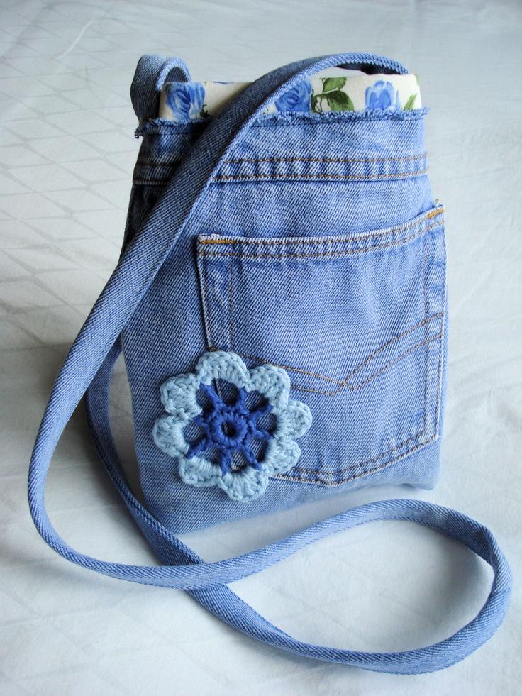 OOAK Upcycled and Repurposed denim shoulder bag purse. $40.00, via Etsy.