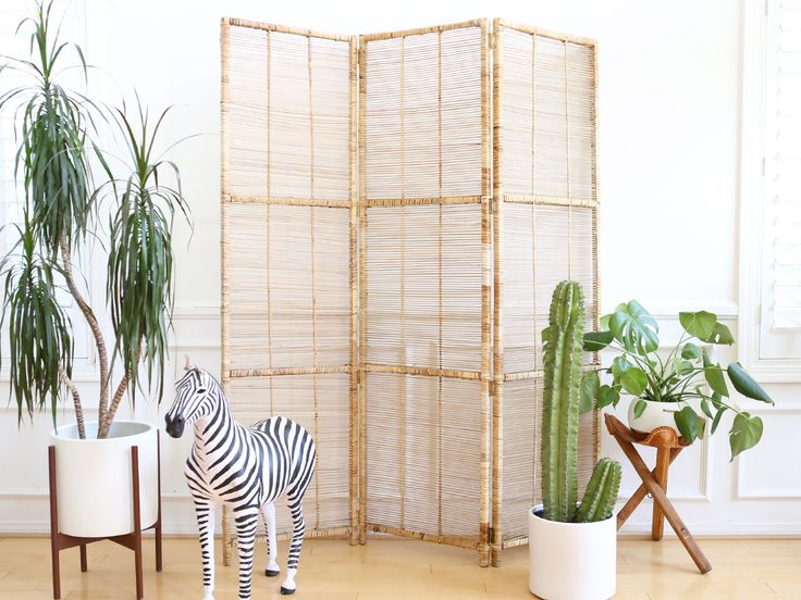 Vintage Bamboo & Rattan Folding Screen Room Divider No 557