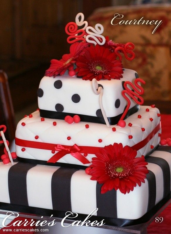 Black, White And Red Square Wedding Cake
