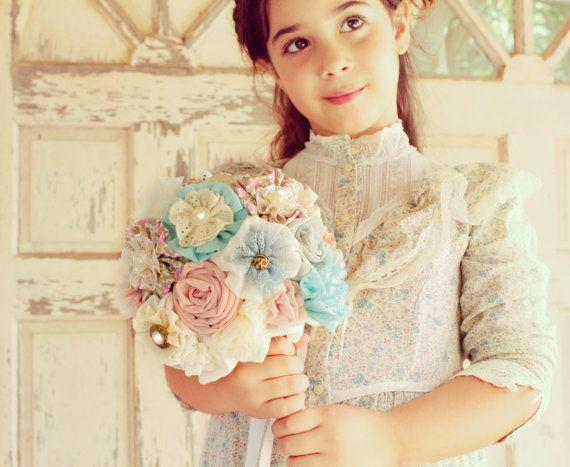 Bridesmaids bouquet cotton bouquet rustic bouquet by MySecretFace