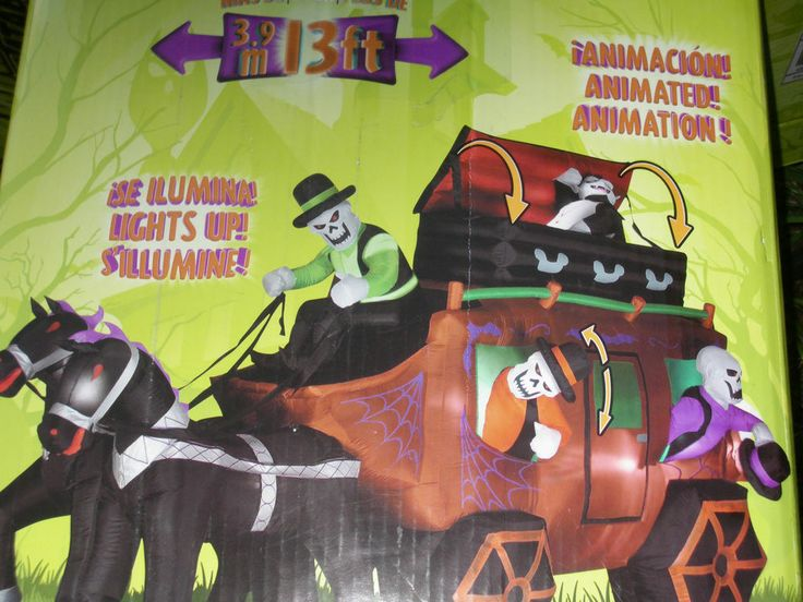 Gemmy OVER 13 Animated Haunted Stagecoach Halloween Airblown Inflatable Blow Up Carriage