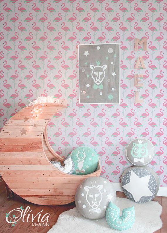 flamants roses auto adh sifs enfants chambre papier peint rose peler et coller le papier peint. Black Bedroom Furniture Sets. Home Design Ideas