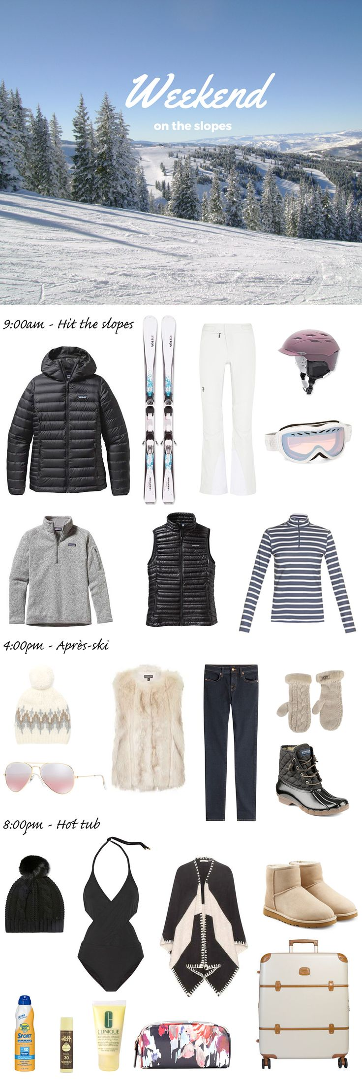 What to pack for a ski trip. Whether you're a snow bunny or a boarder chick, I've listed everything you need to bring for your next vacation in the mountains. Whether you are traveling to Vail in Colorado or Lake Tahoe in California, you'll be set with this list of ideas.