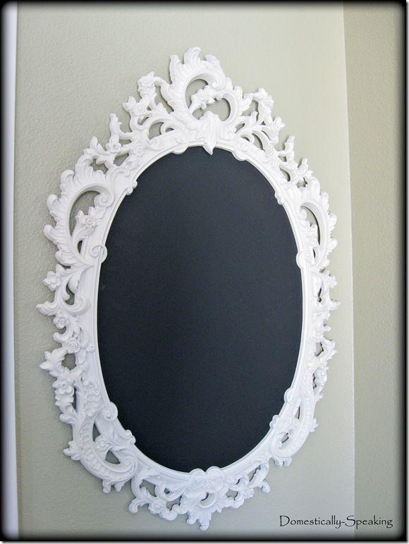 Chalkboard Spray Paint Ideas Part - 44: $2 Gaudy Mirror Made Over With Spray Paint And Chalkboard Paint