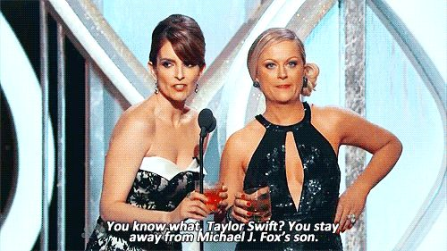 Last year, Taylor Swift was apparently offended by this joke at the 2013 Golden Globes. Taylor needs to grow up, lighten up, and shut up. Team Amy and Tina!