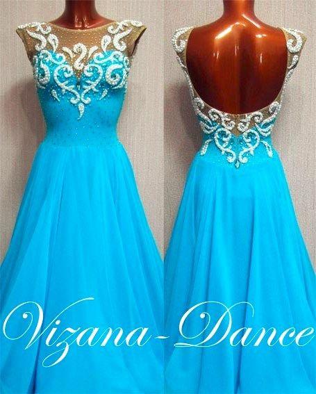"""Платье стандарт Юн-2 """"Зимняя сказка"""" Прокат -450 грн. Визана-Данс платья для спортивных бальных танцев"""
