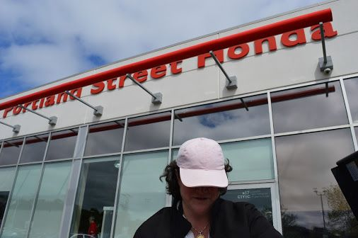 The pink hat is on, that means it's #BBQ time! Come by Portland Street Honda right now to partake in some free #summer food!!