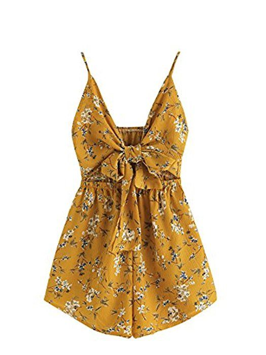 b22074764d6 Amazon.com  Romwe Women s Floral Print Cut Out Knot Front Cami Romper  Yellow S  Clothing