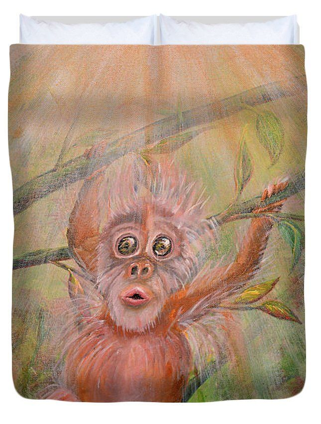 Monkey Duvet Cover featuring the painting Monkey In Love by Medea Ioseliani  #duvetcover #artprint#homedecor,#bedroomdecor