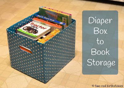 How to turn a diaper box into storage for books! What a great idea.