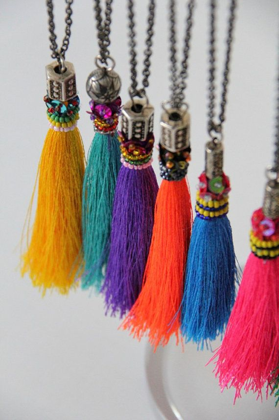 Art Deco Necklace // bright tassels