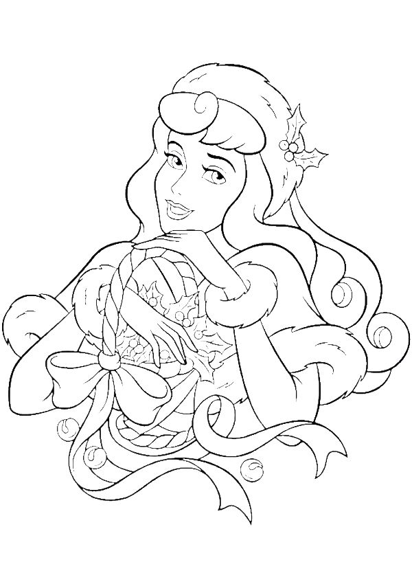 Princess Aurora Happy Merry Christmas Coloring Pages