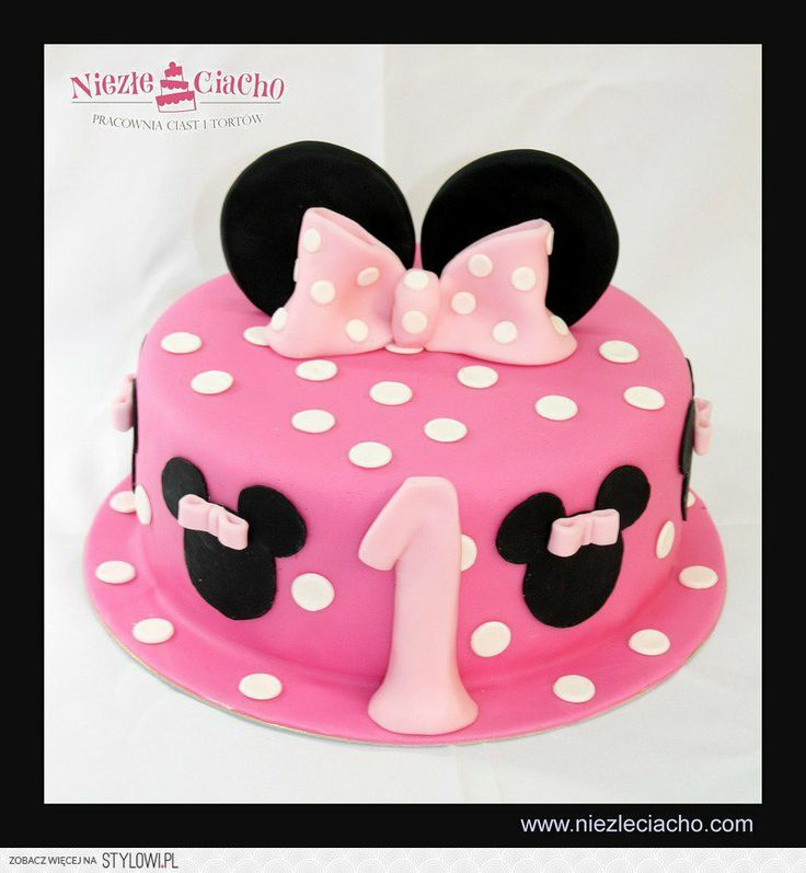 Minnie, Myszka Mini, uszy Myszki Mini, kokarda, torty bajkowe, torty dla dzieci, tort urodzinowy, urodziny dziecka, 1 roczek, Tarnów