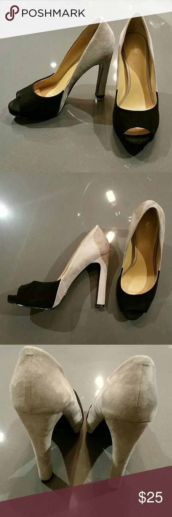 Nine West peep toe pumps Grey/black suede platform pumps.  Like new condition, maybe wore these twice. Nine West Shoes