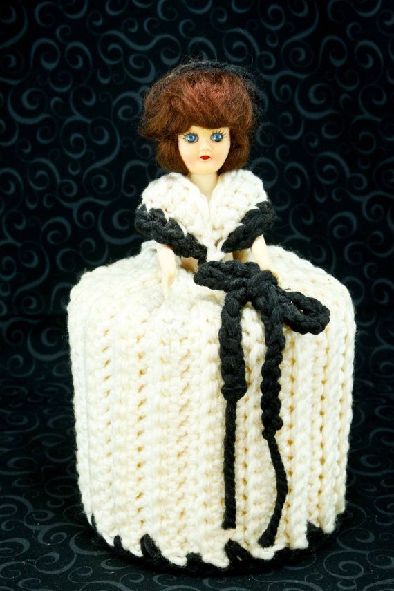 Crocheted Toilet Paper Roll Doll Cover by ThisAndThatAndEtc