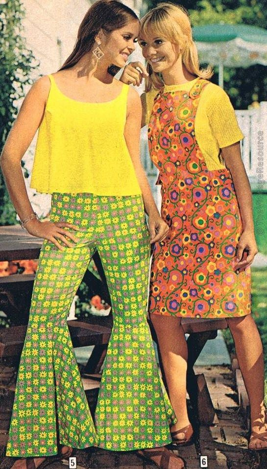60s 70s brady bunch looks bell bottom pants bold graphic print green yellow mod yellow tank top t-shirt pinafore dress floral red purple