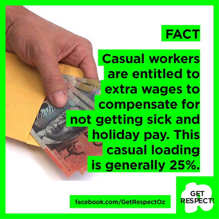 FACT: Casual workers are entitled to higher wages to compensate for not getting sick and holiday pay. This casual loading is generally 25%.