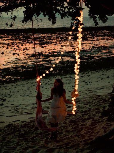 Trav'Lin Lights, Company Picnics, Summer Picnics, Fairies Lights, The Ocean, String Lights, Beach, Trees Swings, Summer Night