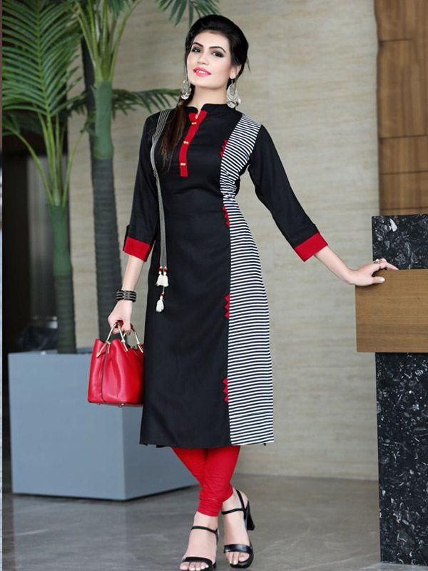 2781e6685a Black-Red Designer Kurti DN1083 #ethnic #wear #indiankurti #kurti #kurta  #longdress #dress #rayonkurti #kwear #kurticatalog #womenskurti  #designerkurti ...