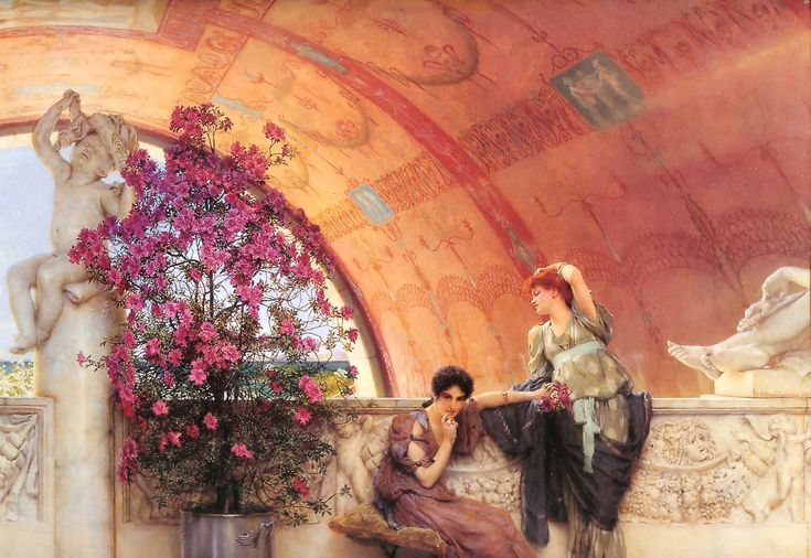 Unconscious Rivals, (1893), oil on panel,45 x 63 cm, Bristol City Museum and Art Gallery. Alma-Tadema's female figures have a slightly bored pleasure-seeking attitude, as if they were pampered courtesans.[15] There is little action in Alma-Tadema's paintings; here the two women are just probably waiting for a lover. The composition is balanced by the flowers in bloom.
