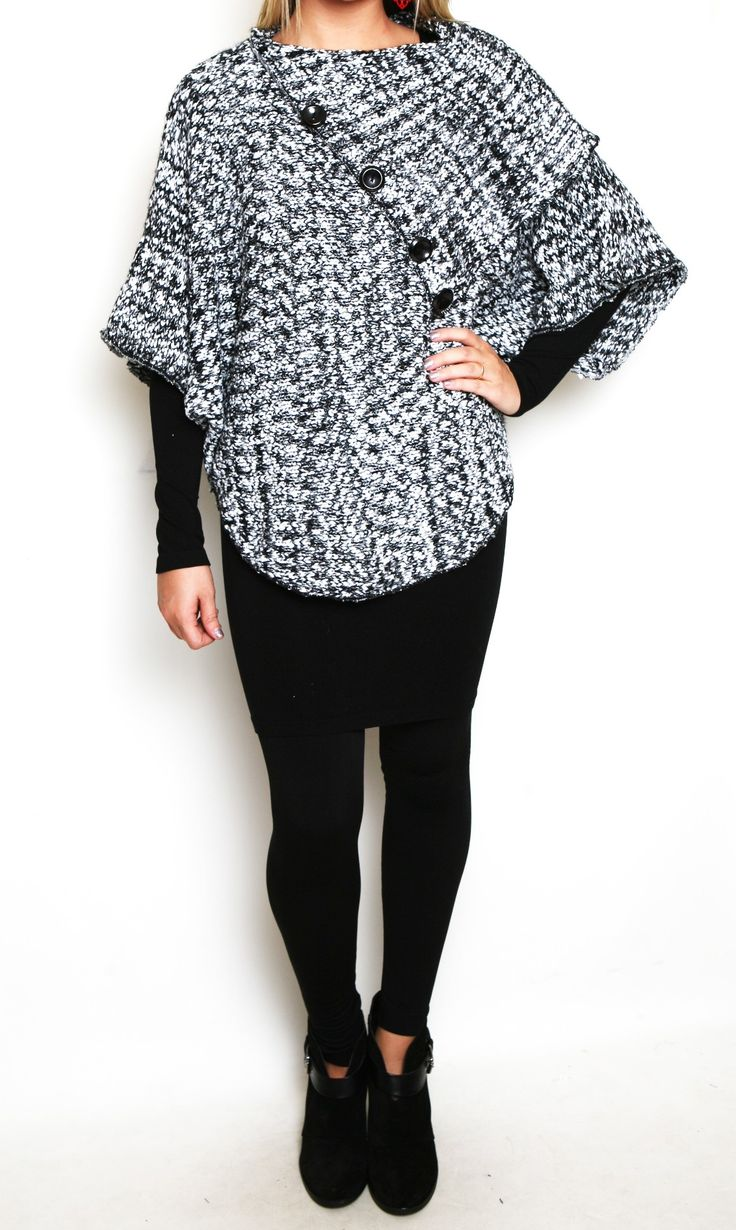 Draped and Dreamy Poncho Sweater in Black and White