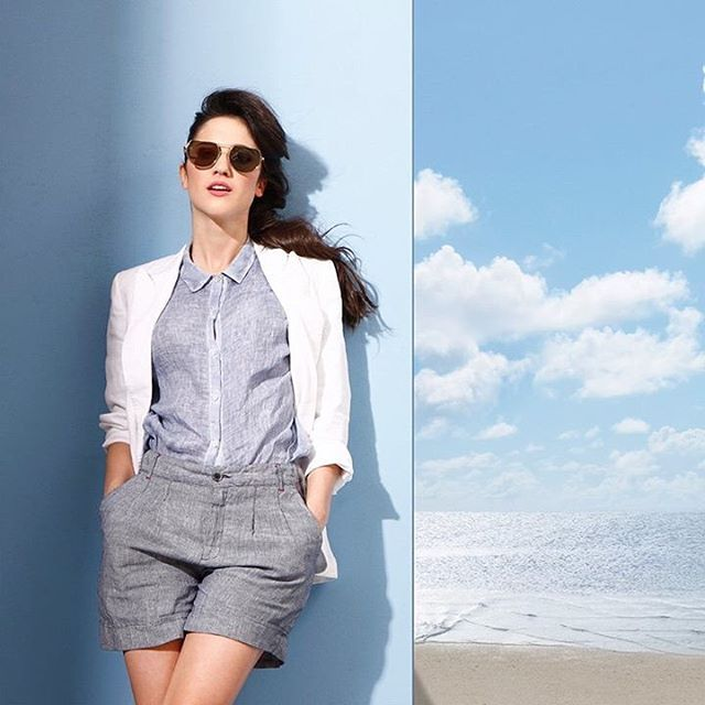 Bon ton linen outfit for #LodovicaComello . Blue shades and navy inspiration by @120percento  #120percento #120lino #summer #linen