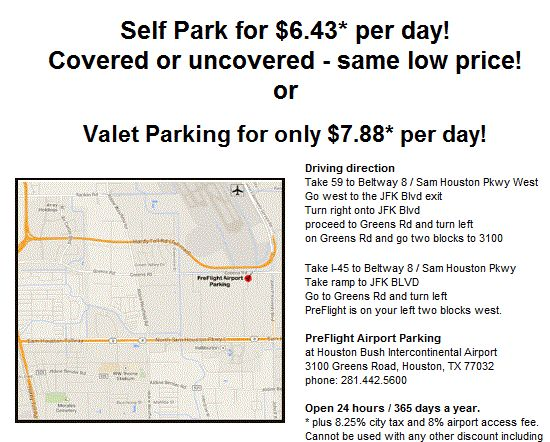 IAH parking coupon from PreFlight Airport Parking