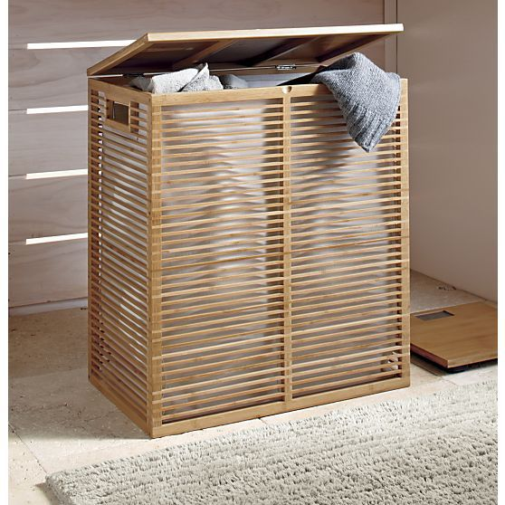 Bamboo hamper with liner crate and barrel bathroom essentials pinterest decor - Bamboo clothes hamper ...