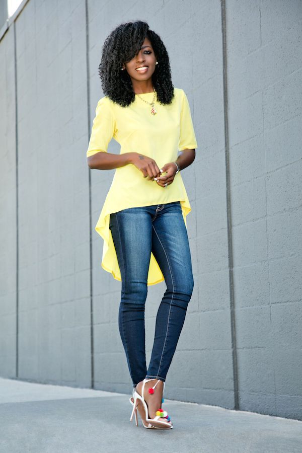 Baby Doll Blouse Dark Rinse Jeans (Style Pantry)