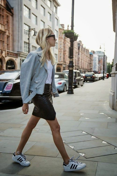 @roressclothes closet ideas #women fashion outfit #clothing style apparel Jacket, Leather Skirt and Sneakers