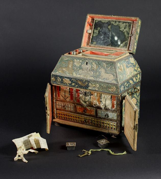 interior view of 17th century needlework casket (formerly viewable on Wilkinson's Auction House site, no longer available); note contents of casket
