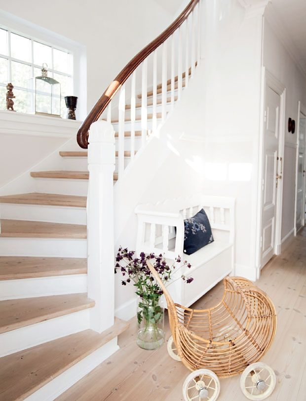 Stairs are lovely, but how cute is that rattan pram!