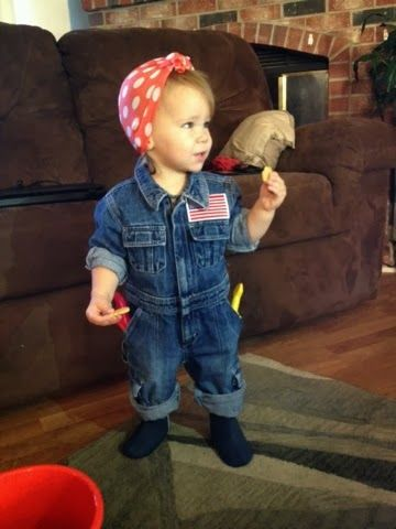 rosie the riveter toddler halloween costume easy thrifted upcycle we can do it - Pictures Of Halloween Costumes For Toddlers